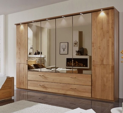 Wiemann Lido 5 Door 3 Drawer 3 Mirror Bi-Fold Panorama Wardrobe in Oak - W 250cm
