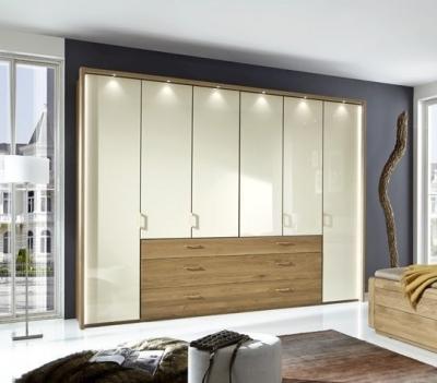 Wiemann Lido 5 Door 3 Drawer Bi Fold Panorama Wardrobe in Oak and Magnolia - W 250cm