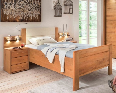 Wiemann Lido 53cm Bedside Height 6ft Queen Size Faux Leather Cushion High Foot End Bed in Oak and Magnolia - 180cm x 200cm