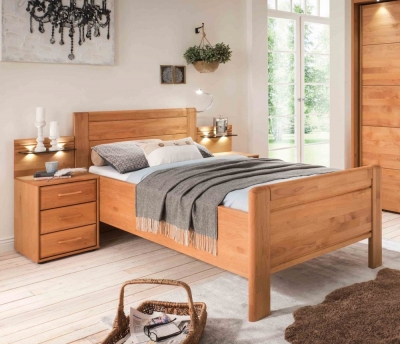 Wiemann Lido 53cm Bedside Height 6ft Queen Size High Foot End Bed in Oak and Magnolia - 180cm x 200cm