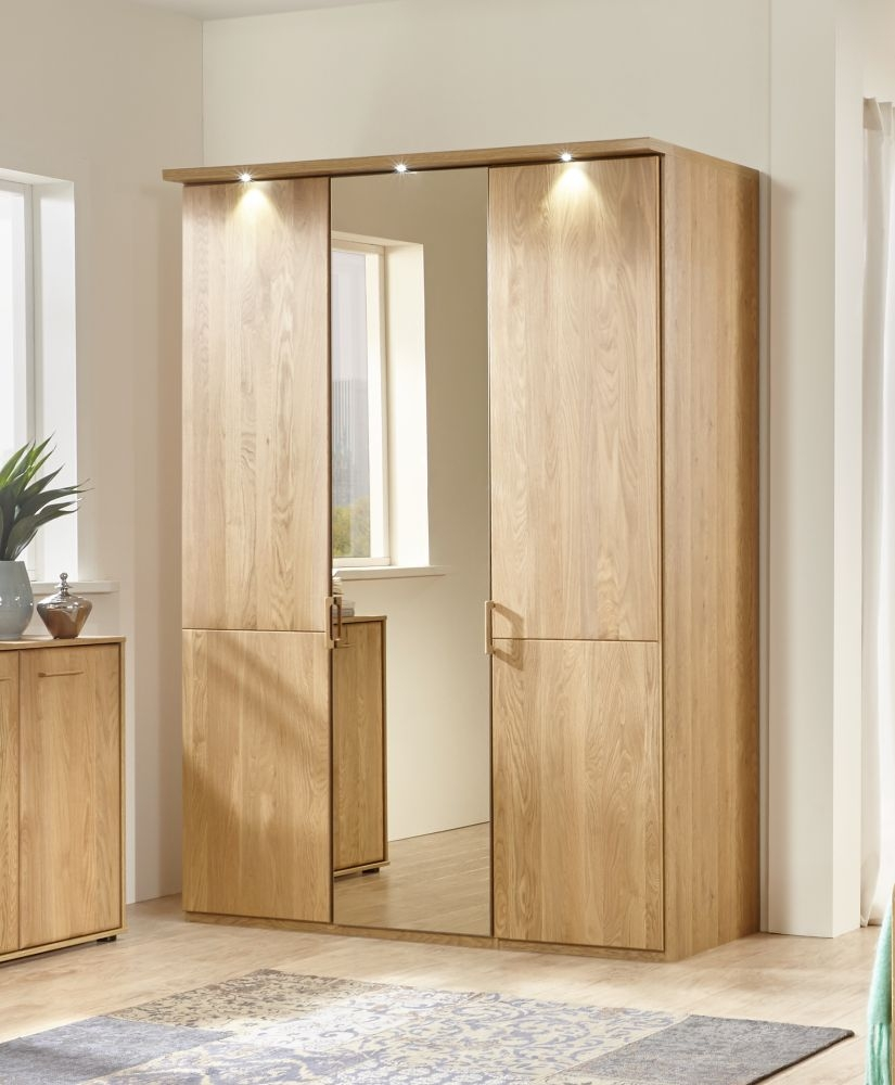 Wiemann Lido 3 Door Mirror Wardrobe in Oak - W 150cm