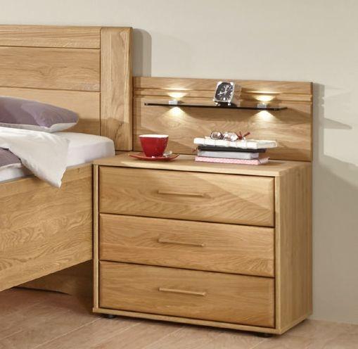Wiemann Lido 3 Drawer Bedside Cabinet in Oak - W 60cm