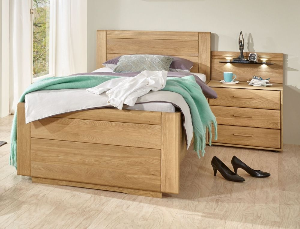 Wiemann Lido 53cm Bedside Height 3ft Single Low Foot End Bed in Oak and Magnolia - 90cm x 190cm
