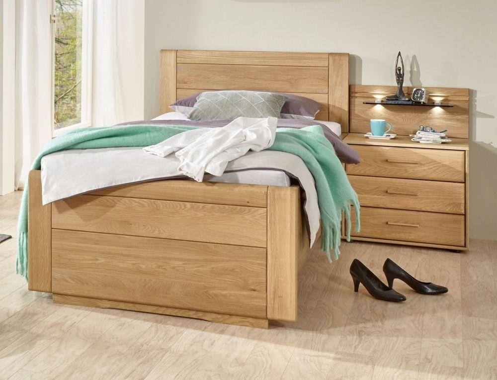 Wiemann Lido 53cm Bedside Height 6ft Queen Size Low Foot End Bed in Oak and Magnolia - 180cm x 200cm