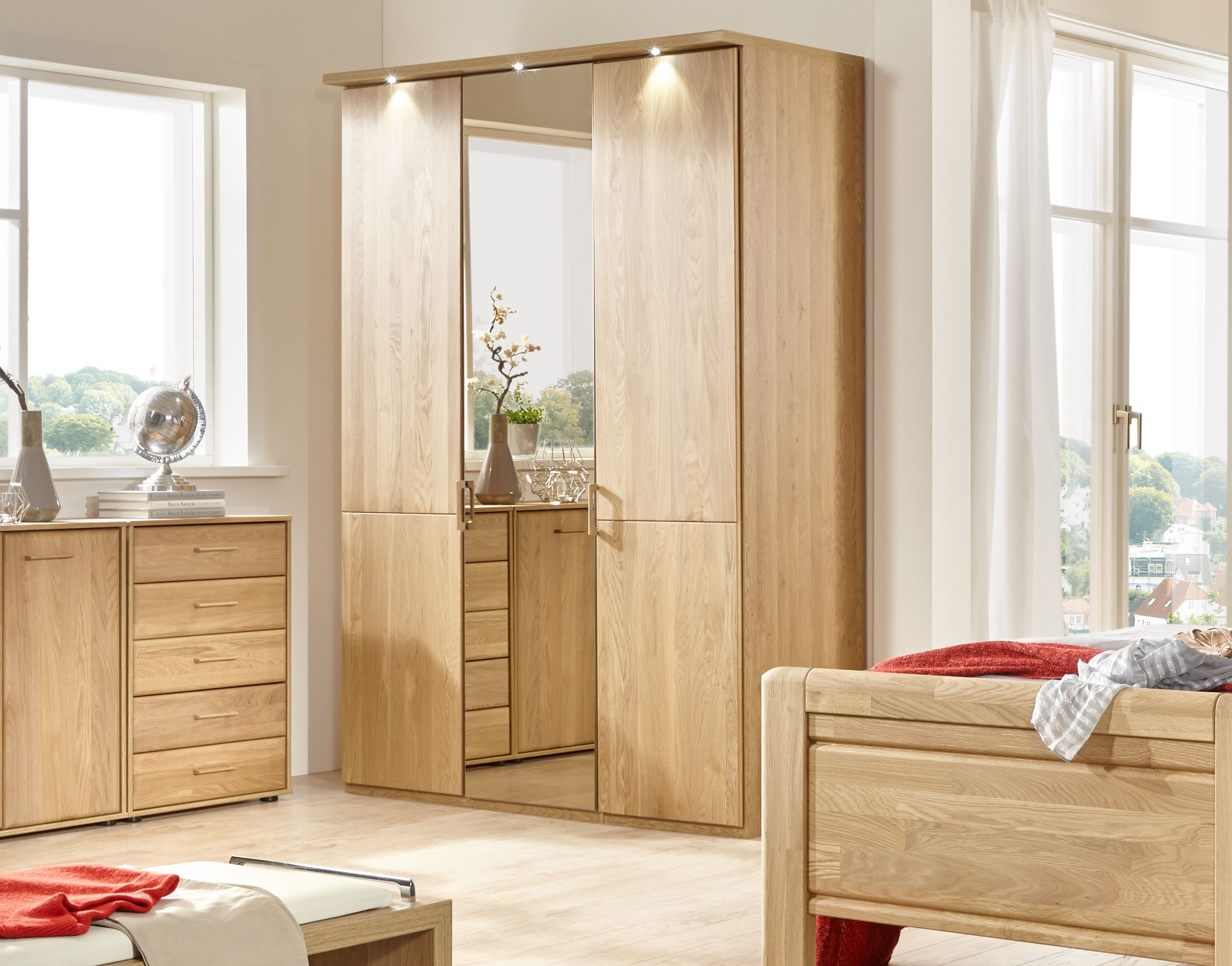 Wiemann Lido 7 Door 1 Mirror Wardrobe in Oak - W 350cm