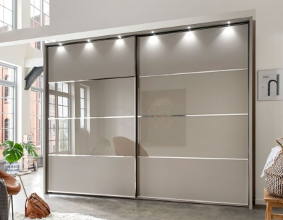 Wiemann Limara Sliding Wardrobe in Pebble Grey and Line 2 and 3 in Pebble Grey Glass - W 300cm