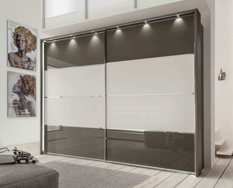 Wiemann Limara Sliding Wardrobe in Champagne and Line 1 and 4 in Havana Glass - W 300cm