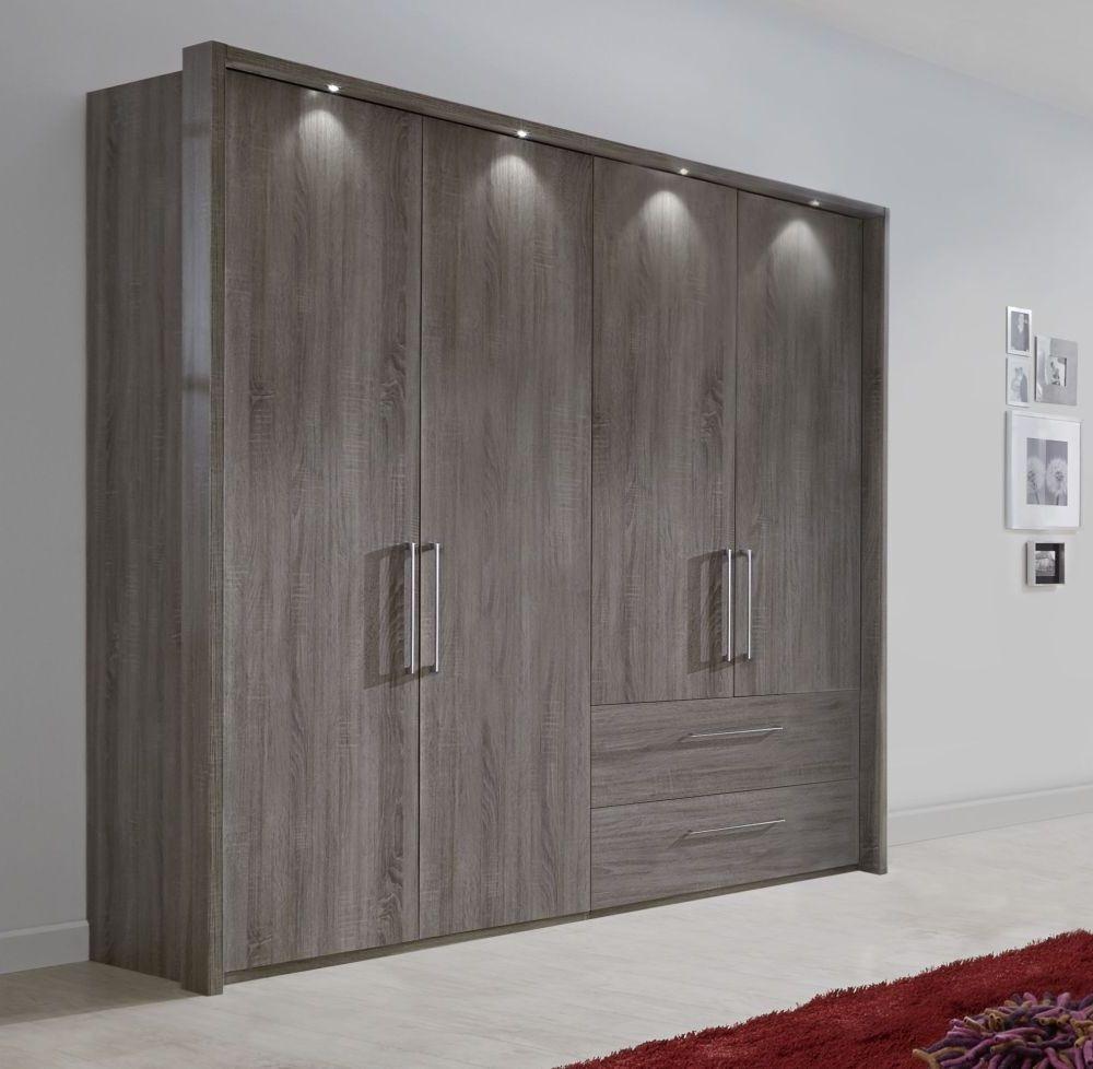 Wiemann Lincoln Oak 4 Door 2 Right Drawer Wardrobe