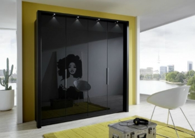 Wiemann Loft 3 Door 9 Drawer Bi-Fold Panorama Wardrobe in Black - W 150cm