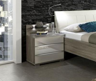 Wiemann Loft 3 Drawer Bedside Cabinet in Dark Rustic Oak and Magnolia Glass
