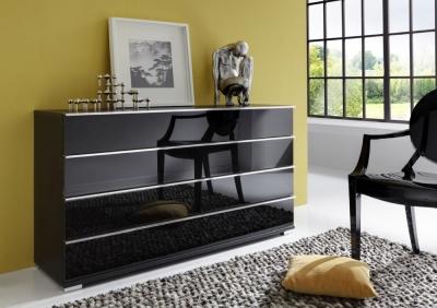 Wiemann Loft 3 Drawer Glass Bedside Cabinet in Black