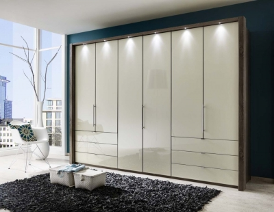 Wiemann Loft 6 Door 6 Drawer Bi Fold Wardrobe in Oak and Magnolia Glass - W 300cm