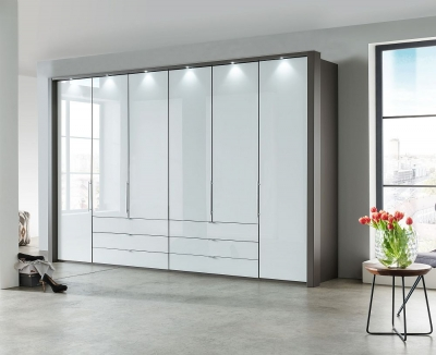 Wiemann Loft 6 Door 6 Drawer Bi Fold Wardrobe in Oak and White Glass - W 300cm