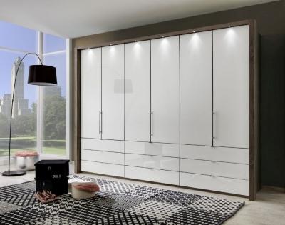 Wiemann Loft 6 Door 9 Drawer Bi Fold Wardrobe in Oak and Pebble Grey Glass - W 300cm
