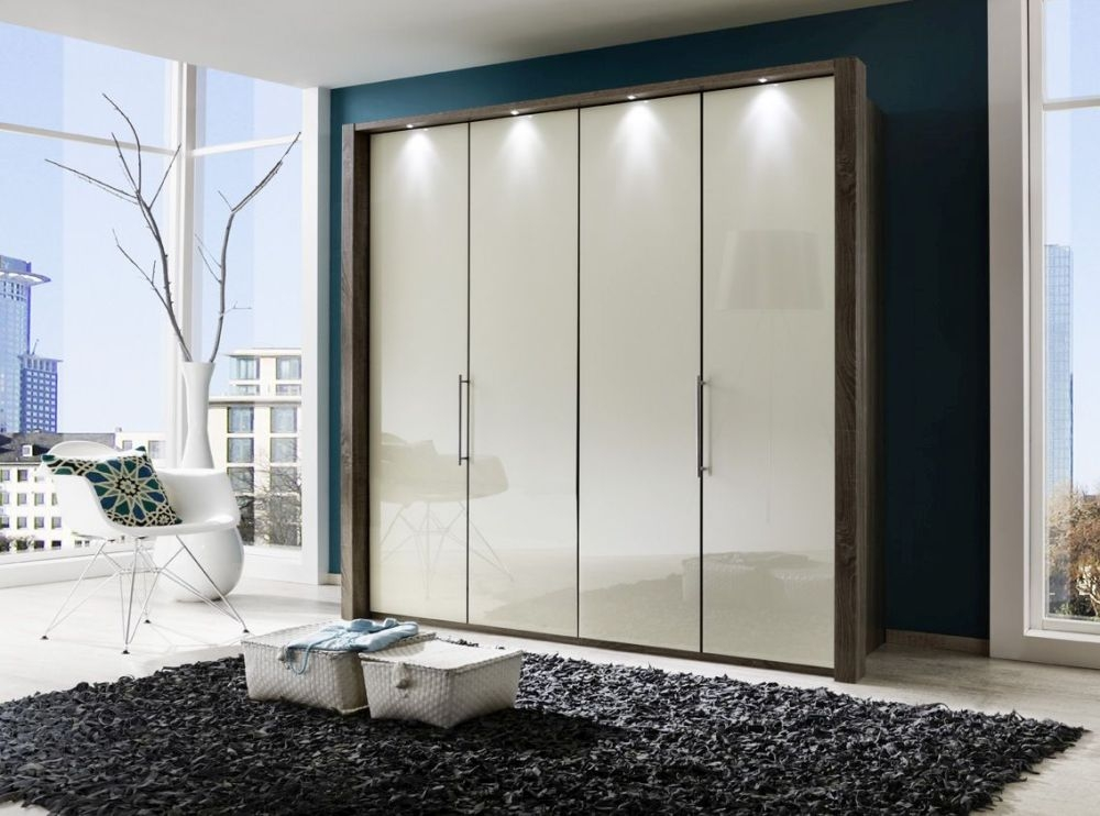 Wiemann Loft 4 Door Bi Fold Wardrobe in Oak and Magnolia Glass - W 200cm