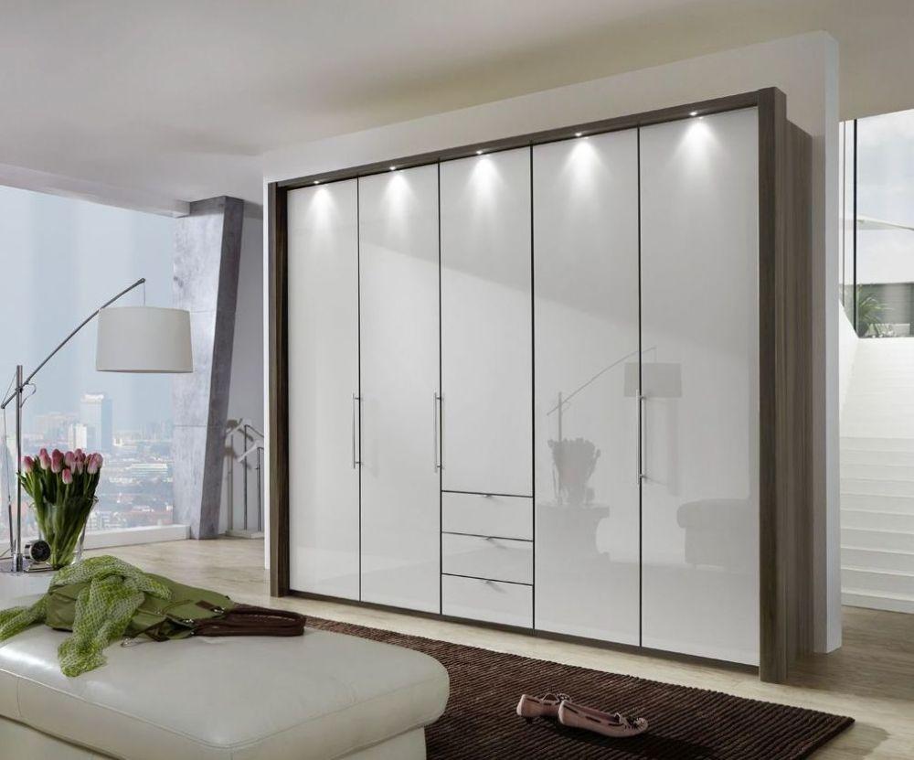 Wiemann Loft 5 Door 3 Drawer Bi Fold Wardrobe in Oak and Pebble Grey Glass - W 250cm