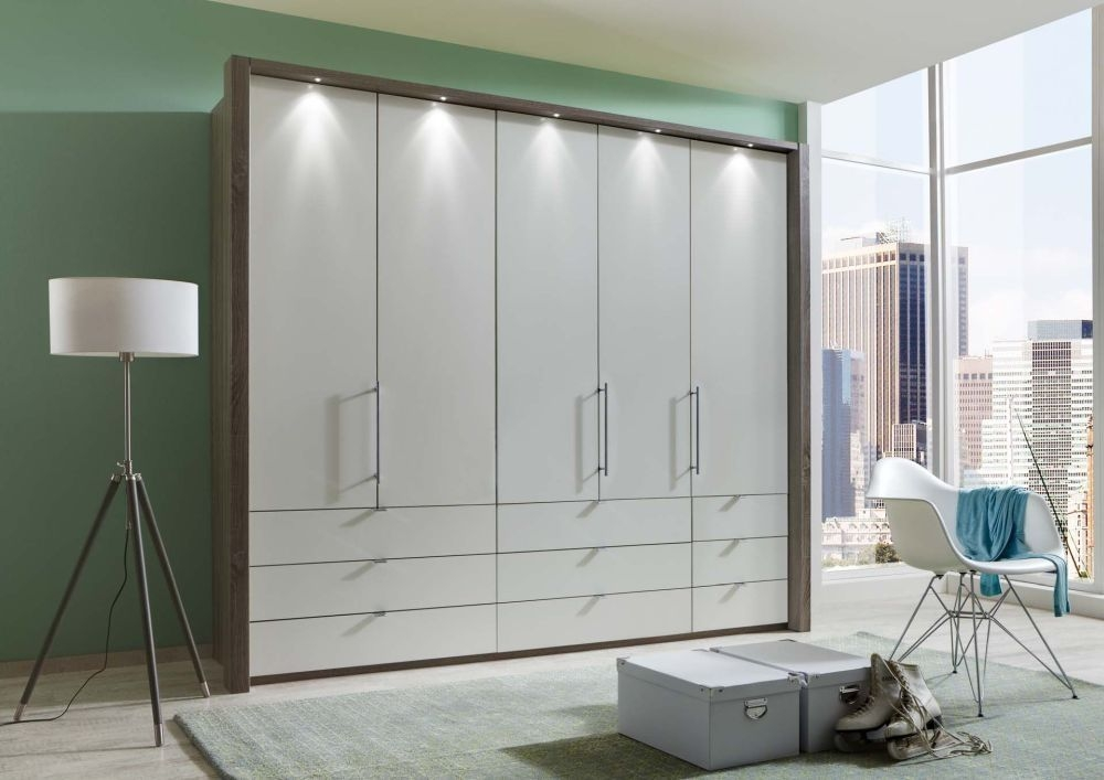 Wiemann Loft 5 Door 9 Drawer Bi Fold Wardrobe in Oak and Pebble Grey Glass - W 250cm