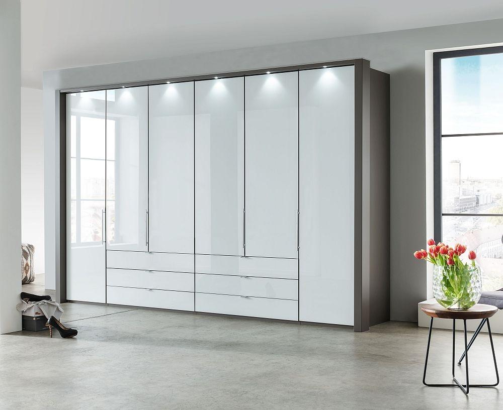 Wiemann Loft 6 Door 6 Drawer Bi Fold Wardrobe in Oak and White Glass - W 300cm