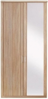 Wiemann Luxor 3+4 2 Door Hinged Wardrobe with 1 Mirror on Right in Rustic Oak - W 75cm