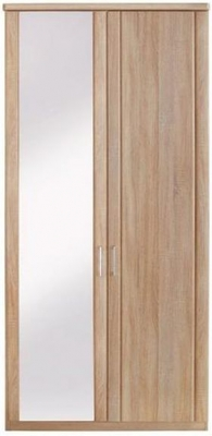Wiemann Luxor 3+4 2 Door Hinged Wardrobe with 1 Mirror on Left in Rustic Oak - W 100cm