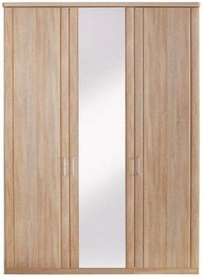 Wiemann Luxor 3+4 3 Door Hinged Wardrobe with 1 Mirror in Rustic Oak - W 150cm