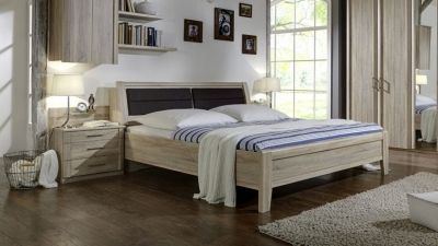 Wiemann Luxor 3+4 43cm Bedside Height 6ft Queen Size Bed in Rustic Oak with Bedding Box - 180cm x 190cm
