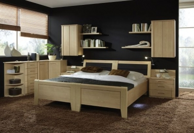 Wiemann Luxor 3+4 48cm Bedside Height 6ft Queen Size Bed in Golden Maple with Bedding Box - 180cm x 200cm