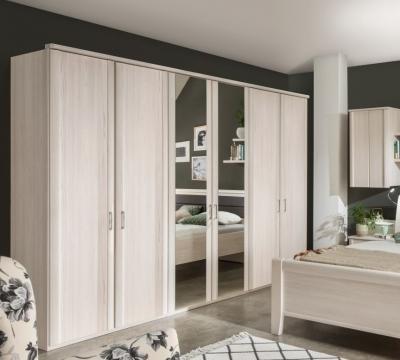 Wiemann Luxor 3+4 6 Door 2 Mirror Wardrobe in Polar Larch - W 225cm