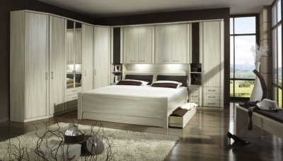 Wiemann Luxor 3+4 Overbed Unit with 33cm Occasional Element and 160cm Bed in Light Ash - W 160cm