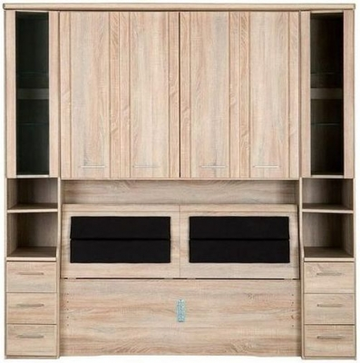Wiemann Luxor 3+4 Overbed Unit with 33cm Occasional Element and Bedding Box in Rustic Oak - W 255