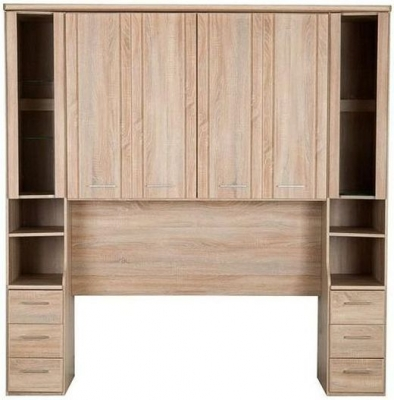 Wiemann Luxor 3+4 Overbed Unit with 33cm Occasional Element in Rustic Oak - W 215