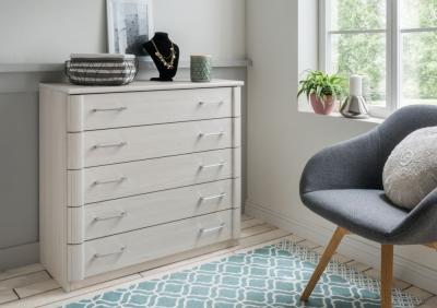 Wiemann Luxor 3+4 3 Drawer Bedside Cabinet in Polar Larch
