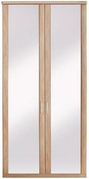 Wiemann Luxor 3+4 2 Mirror Door Hinged Wardrobe in Rustic Oak - W 75cm