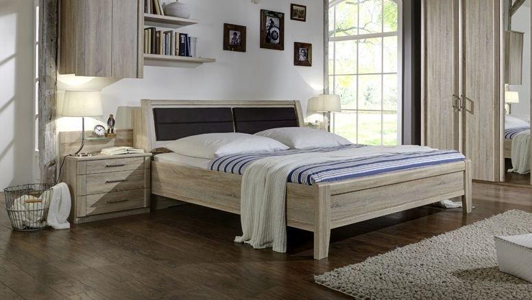 Wiemann Luxor 3+4 43cm Bedside Height 6ft Queen Size Bed in Rustic Oak with Bedding Box - 180cm x 190cm