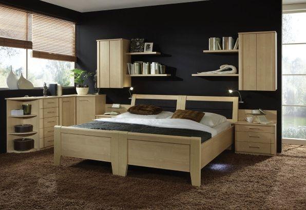 Wiemann Luxor 3+4 48cm Bedside Height 6ft Queen Size Bed in Golden Maple - 180cm x 190cm