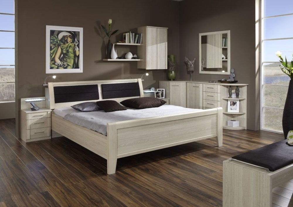 Wiemann Luxor 3+4 48cm Bedside Height 6ft Queen Size Bed in Light Ash with Bedding Box - 180cm x 190cm