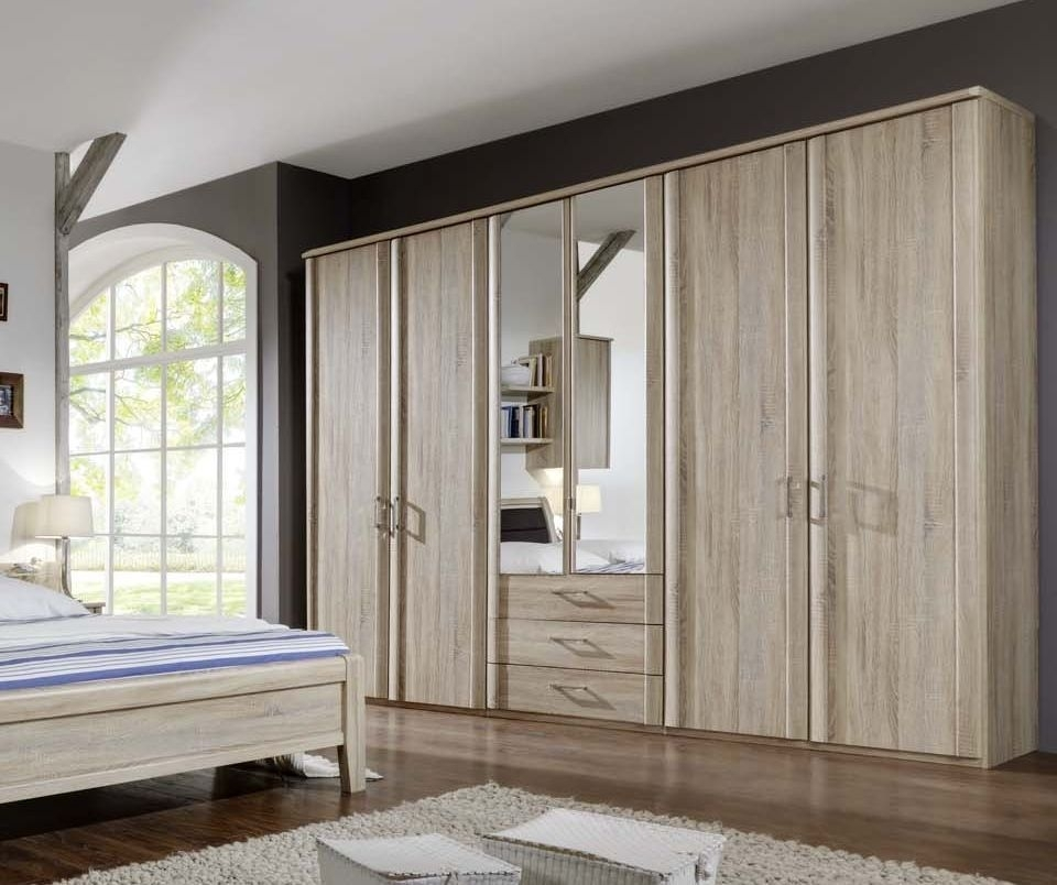 Wiemann Luxor 3+4 6 Door 3 Drawer 2 Mirror Wardrobe in Rustic Oak - W 225cm