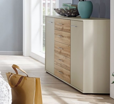 Wiemann Lyon 5 Drawer Chest in Champagne with Timber Oak Top - W 40cm