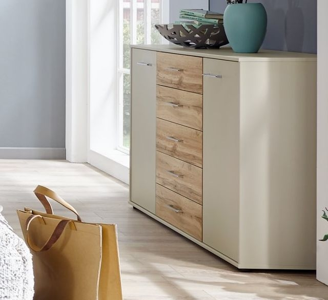 Wiemann Lyon 3 Drawer Bedside Cabinet in Champagne with Timber Oak Top