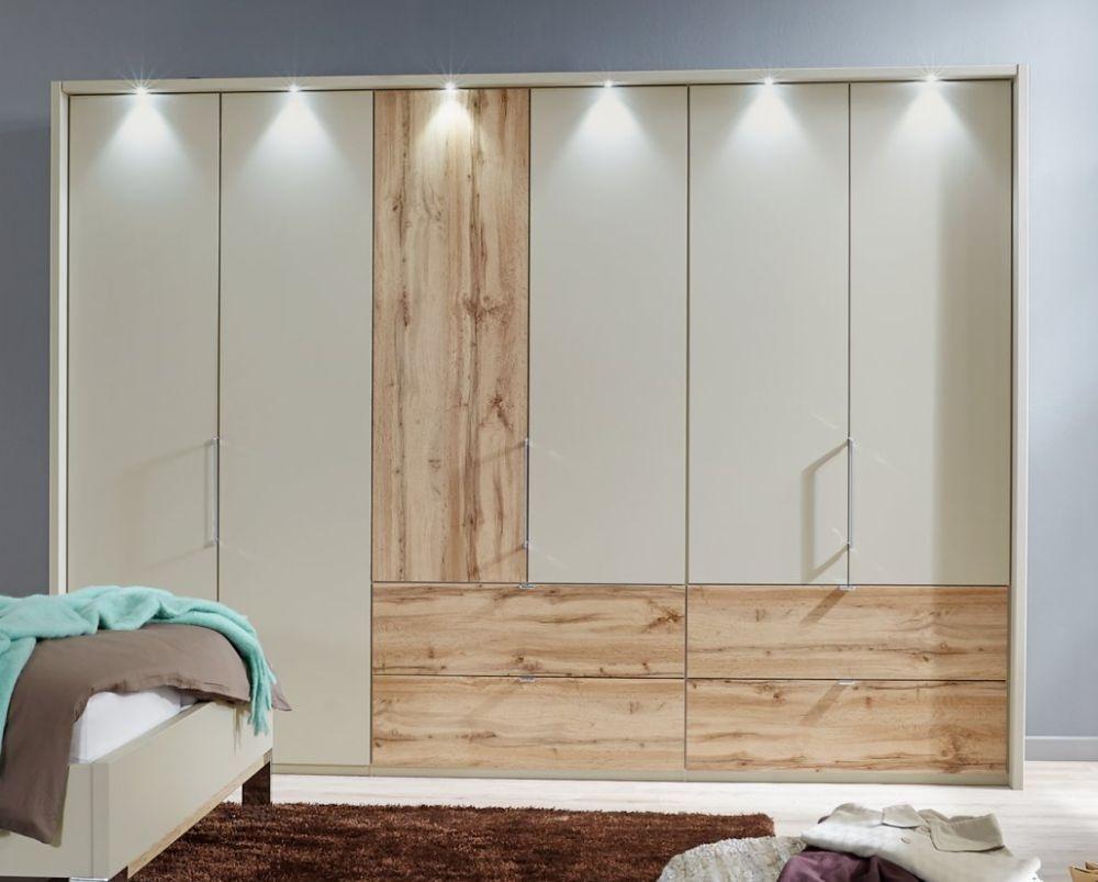 Wiemann Lyon 4 Door 2 Left Drawer Bi Fold Panorama Wardrobe in Champagne and Timber Oak  - W 200cm