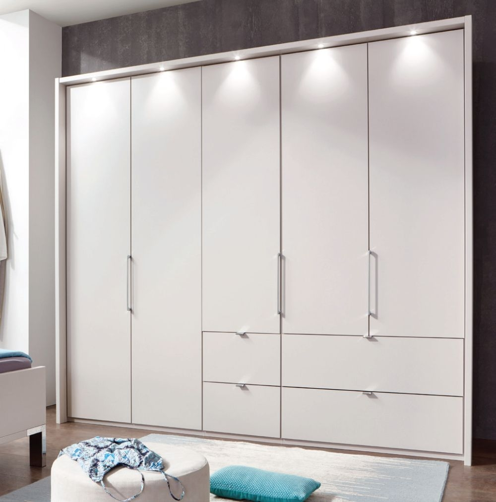 Wiemann Lyon 4 Door 2 Right Drawer Bi Fold Panorama Wardrobe in Champagne - W 200cm