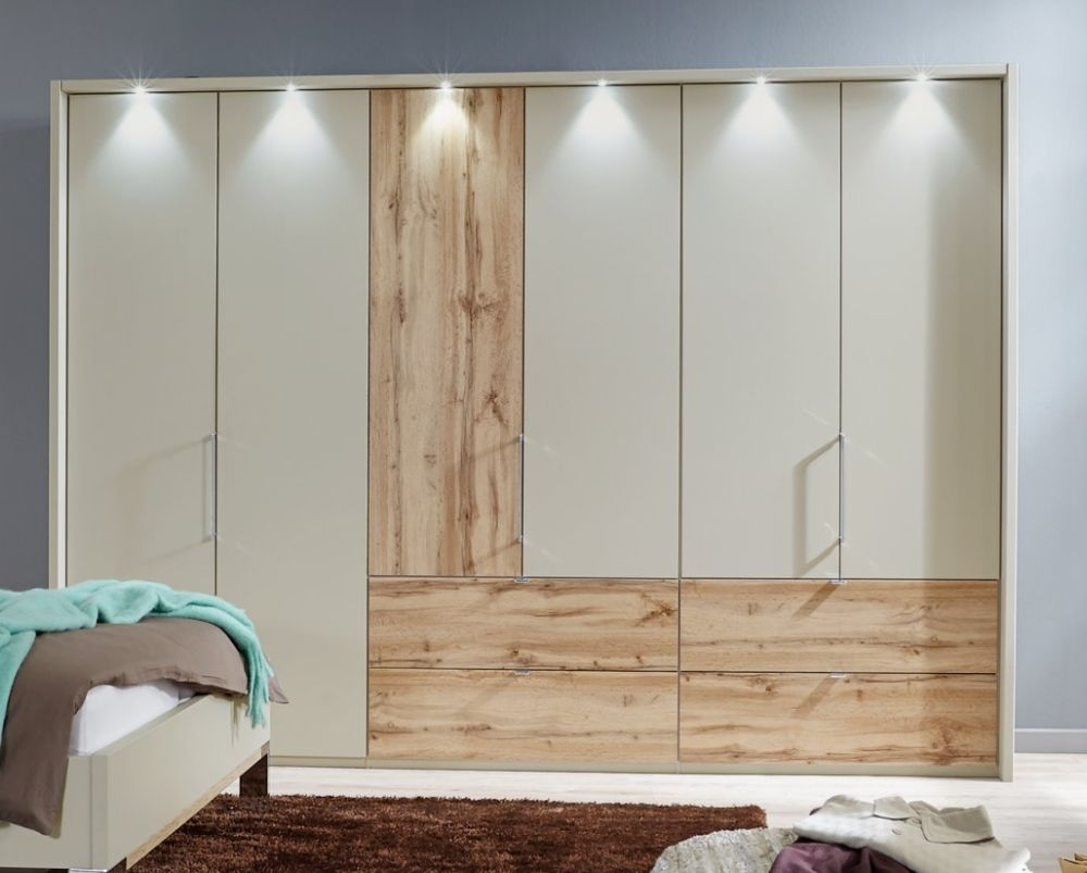 Wiemann Lyon 5 Door 4 Right Drawer Bi Fold Panorama Wardrobe in Champagne and Timber Oak  - W 250cm