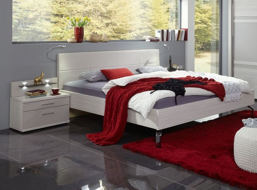 Wiemann Menorca 5ft King Size Leather Cushion Bed in Polar Larch and Champagne - 150cm x 200cm