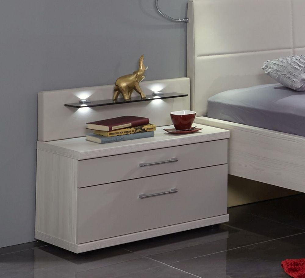Wiemann Menorca 3 Drawer Bedside Cabinet in Polar Larch and Champagne