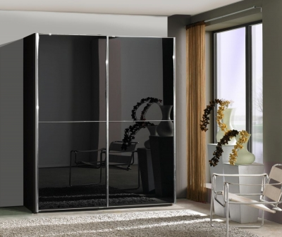 Wiemann Miami2 2 Door 1 Left Glass 2 Panel Sliding Wardrobe in Black - W 200cm