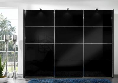 Wiemann Miami2 3 Door 1 Glass 4 Panel Sliding Wardrobe in Black - W 300cm