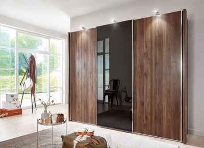 Wiemann Miami2 3 Door 1 Glass Sliding Wardrobe in Nocce and Black Glass - W 280cm
