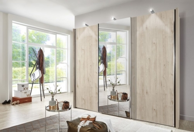 Wiemann Miami2 3 Door 1 Mirror Sliding Wardrobe in Holm Oak - W 280cm
