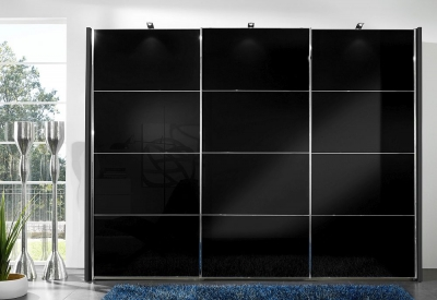 Wiemann Miami2 3 Door Sliding Wardrobe in Black Glass - W 300cm