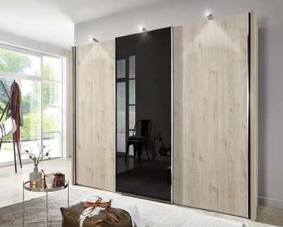 Wiemann Miami2 3 Door Sliding Wardrobe in Holm Oak and Black Glass - W 250cm
